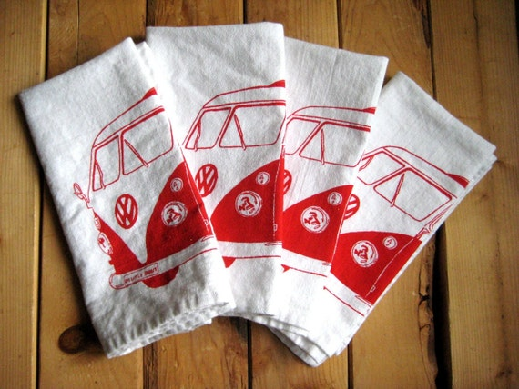 Screen Printed Organic Cotton VW Cloth Napkins - Eco Friendly and Awesome Dinner Napkins for Everyday Use - Washable and Reusable