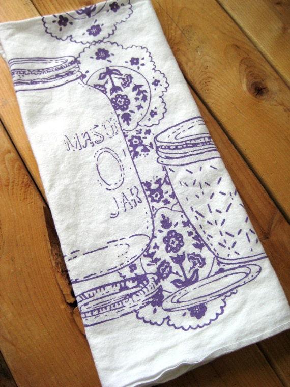 Tea Towel - Screen Printed Organic Cotton Mason Jar Flour Sack Towel - Awesome Kitchen Towel for Dishes