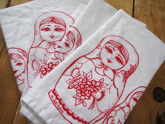 Screen Printed Organic Cotton Cloth Napkins - Eco Friendly Nesting Dolls Dinner Napkins