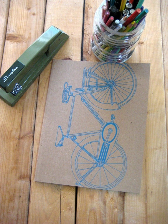 Recycled Screen Printed Bicycle Journal