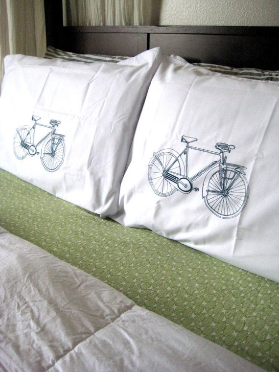 Screen Printed Pillow Cases - Set of 2 Standard Sized Bicycle Pillow Covers