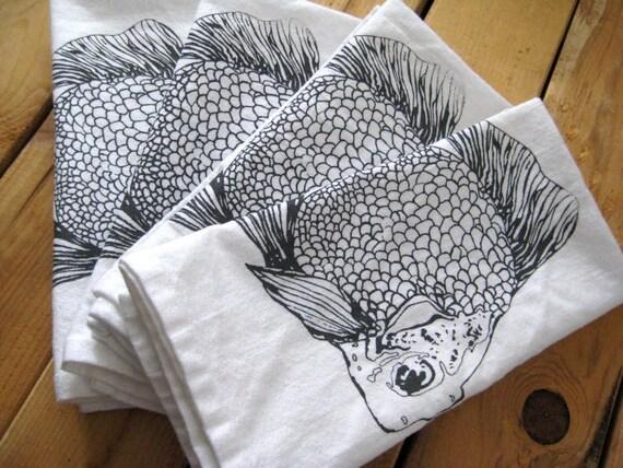 Screen Printed Organic Cotton Cloth Napkins  - Eco Friendly Goldfish Dinner Napkins