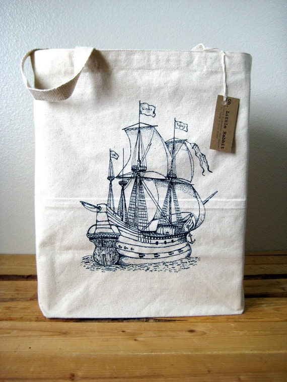 Canvas Tote Bag - Oversized Recycled Cotton Grocery Shopper Tote -  Reusable and Washable - Eco Friendly and Awesome - Nautical Ship Print