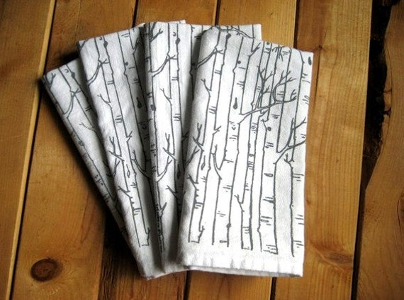 Screen Printed Organic Cotton Birch Tree Cloth Napkins - Eco Friendly Dinner Napkins