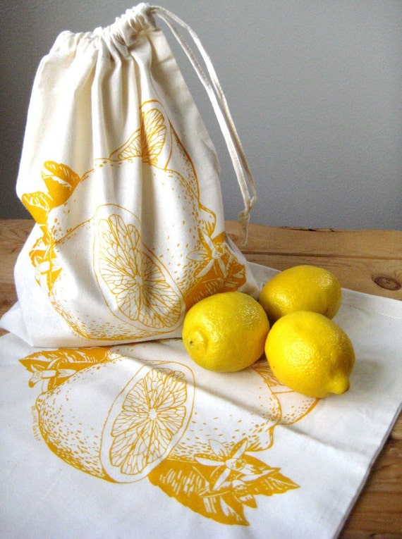 Set of 2 - Screen Printed Natural Cotton Citrus Produce Bags - Reusable and Washable