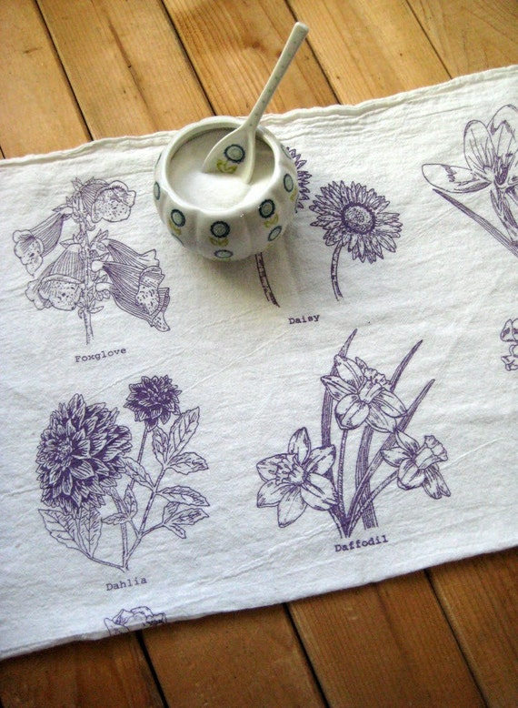 Screen Printed Organic Cotton Spring Flowers Flour Sack Tea Towel - Soft and Absorbent Dish Towel