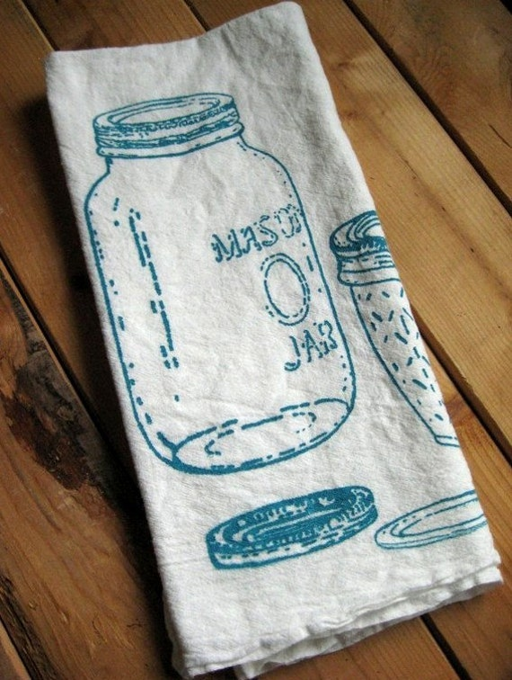 Tea Towel - Screen Printed Organic Cotton Mason Jar Flour Sack Towel - Soft and Absorbent - Awesome Kitchen Towel for Dishes
