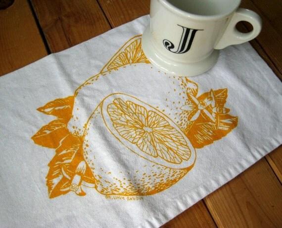 Screen Printed Organic Cotton Citrus Cloth Napkins - Eco Friendly Dinner Napkins - Washable and Reusable