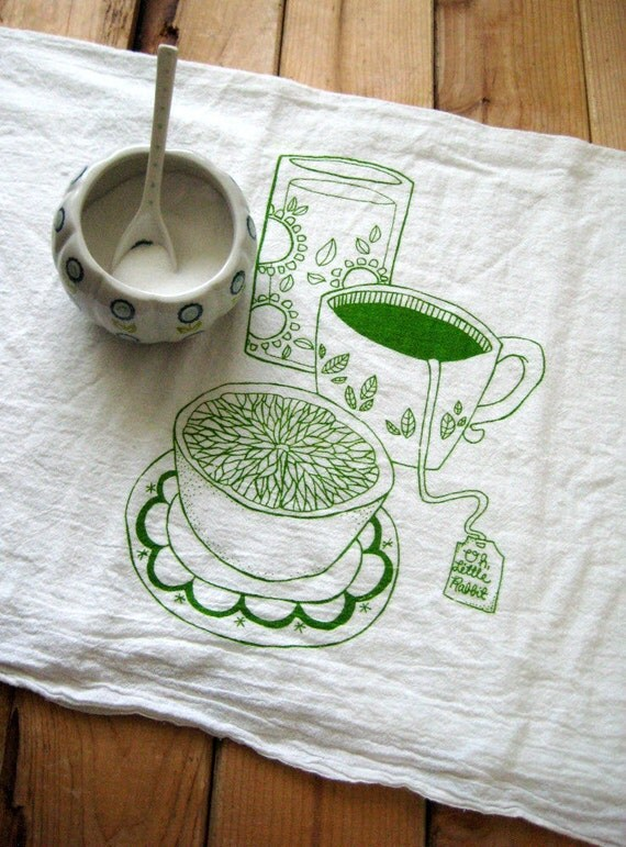 Screen Printed Organic Cotton Breakfast Flour Sack Towel