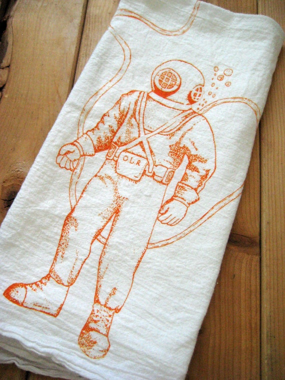 Screen Printed Organic Cotton Flour Sack Tea Towel - Deep Sea Diver Illustration - Nautical - Eco Friendly and Awesome Hand Towel