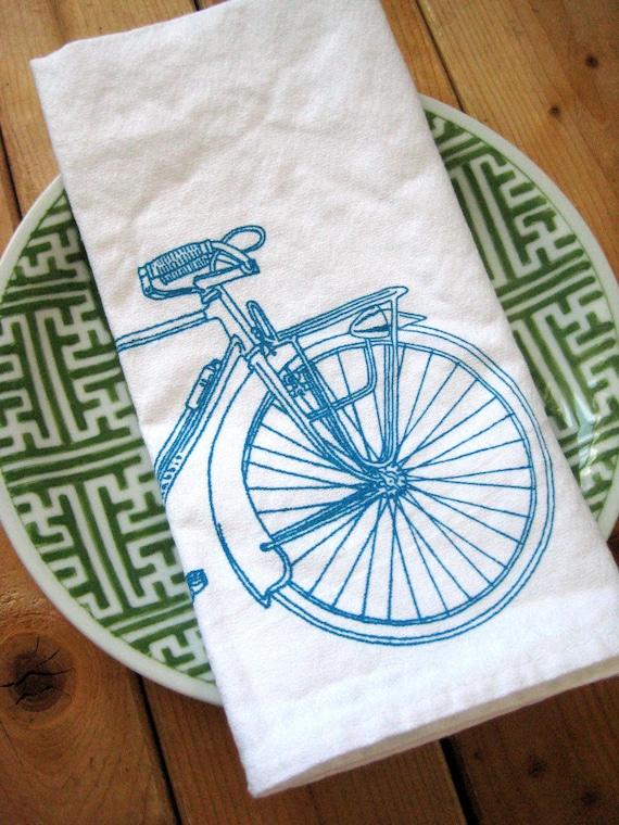 Screen Printed Organic Cotton Bicycle Cloth Napkins - Eco Friendly Dinner Napkins