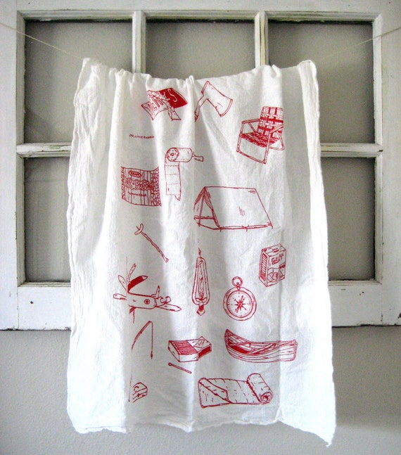 Hand Printed Organic Cotton Camping Equipment Flour Sack Towel