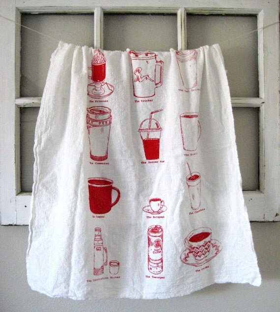 Tea Towel - Screen Printed Organic Cotton Coffee Cups Flour Sack Towel - Awesome Kitchen Towel for Dishes
