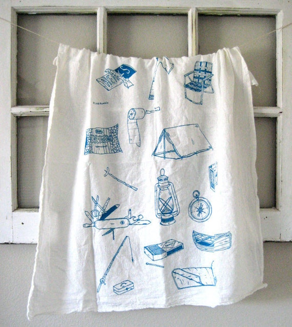 Tea Towel - Screen Printed Organic Cotton Camping Equipment Flour Sack Towel - Eco Friendly and Awesome Kitchen Towel for Dishes