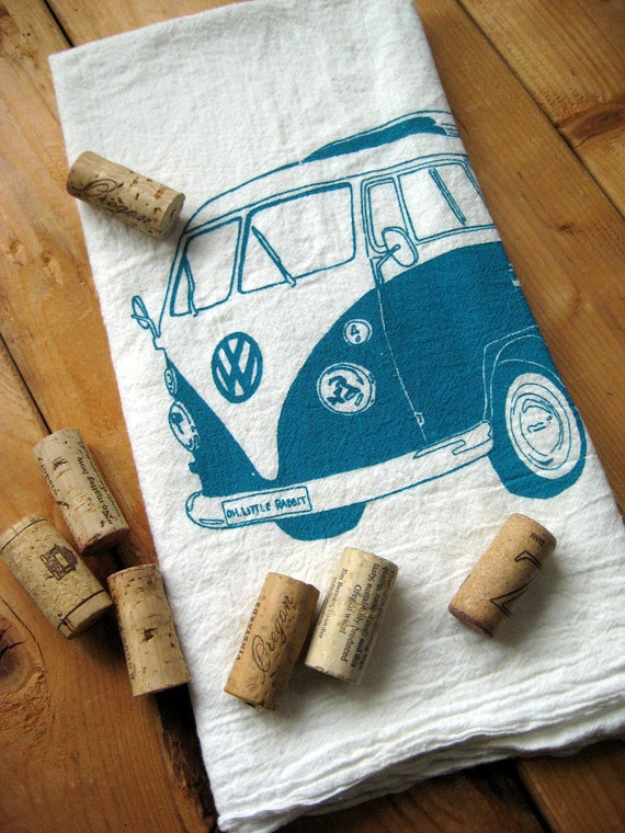 Screen Printed Organic Cotton VW Flour Sack Tea Towel - Soft and Absorbent Dish Towel
