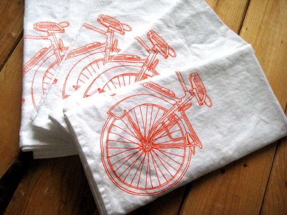 Organic Cotton Cloth Napkins - Screen Printed Bicycle Dinner Napkins - Eco Friendly and Awesome Table Linens - Road Bike Print