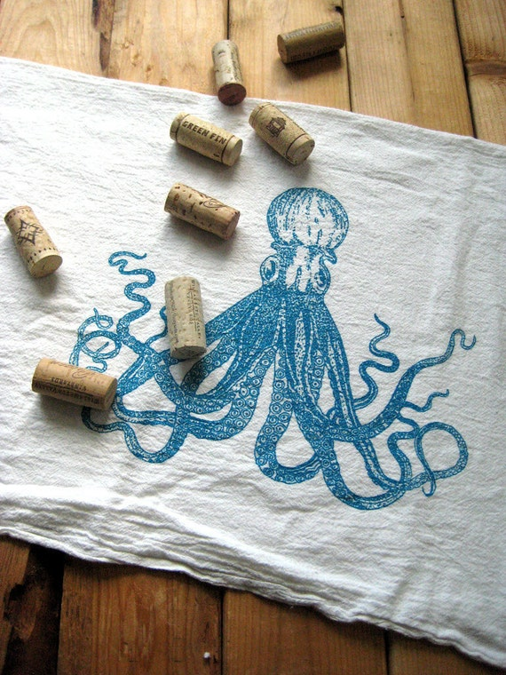 Tea Towel - Screen Printed Organic Cotton Octopus Flour Sack Towel - Perfect Kitchen Towel for Dishes