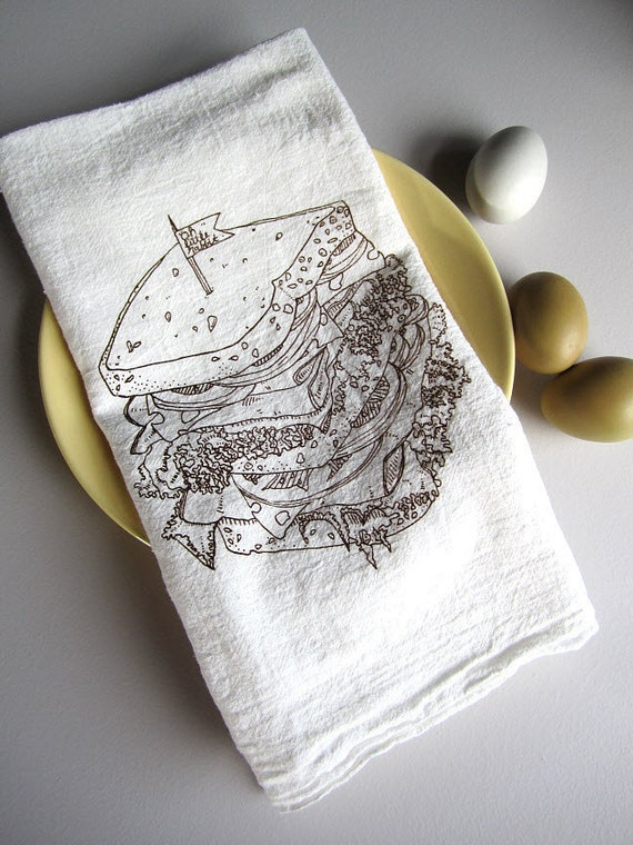 Screen Printed Organic Cotton Deli Sandwich Flour Sack Tea Towel - Awesome Kitchen Towel for Dishes