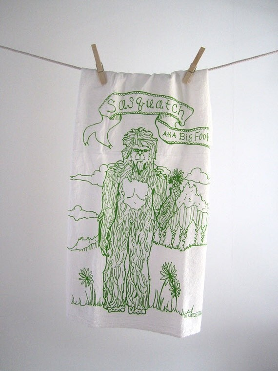 Tea Towel - Screen Printed Organic Cotton Sasquatch Flour Sack Towel - Awesome and Eco Friendly Dish Towel