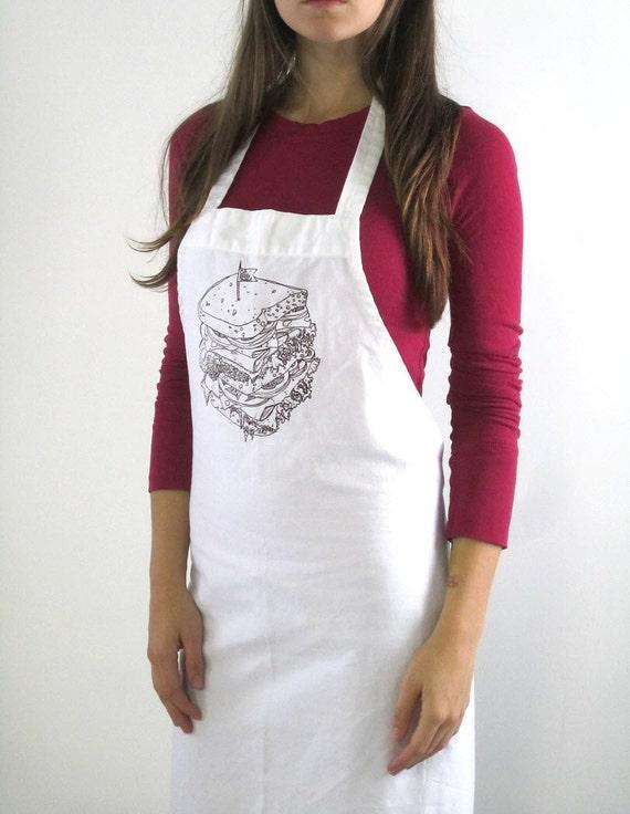 Screen Printed Apron - Natural Cotton Twill - Eco Friendly Kitchen Apron - Deli Sandwich Illustration