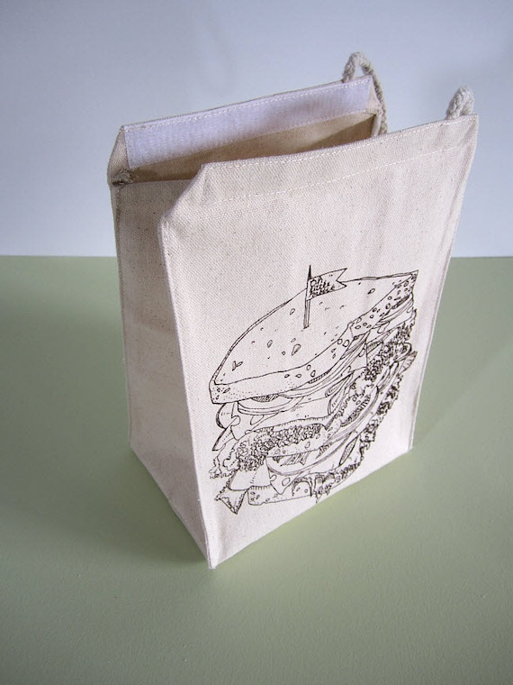 Screen Printed Recycled Cotton Lunch Bag - Reusable and Washable - Eco Friendly and Fun - Deli Sandwich Illustration