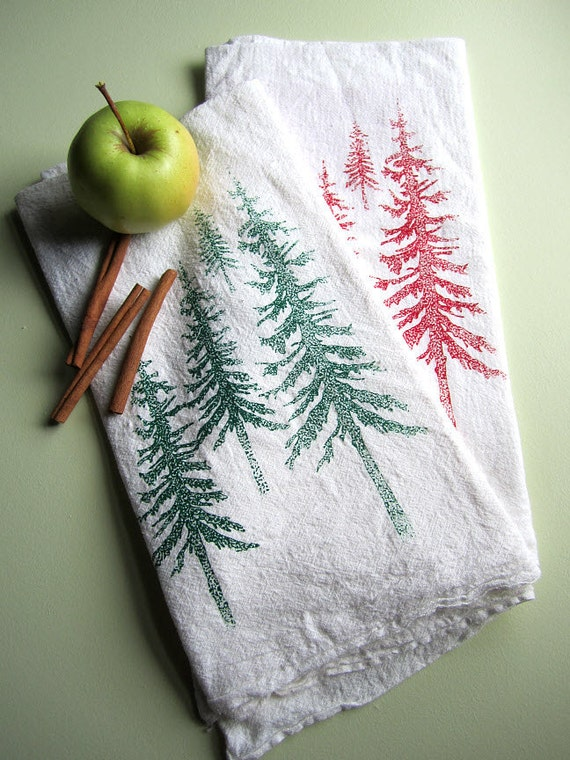 Screen Printed Organic Cotton Mountain Scene Kitchen Flour Sack Tea Towel - Great for dishes