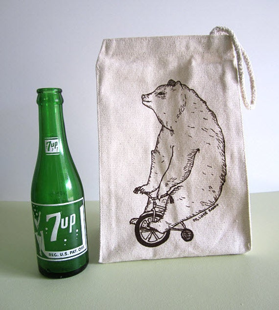 Screen Printed Recycled Cotton Lunch Bag - Reusable and Washable - Eco Friendly and Awesome - Circus Side Show - Bear and Bike Illustration