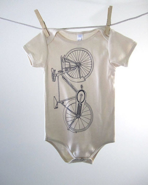 Organic Onesie - Hand Screen Printed American Apparel Baby Onesie - Road Bike (You pick size)