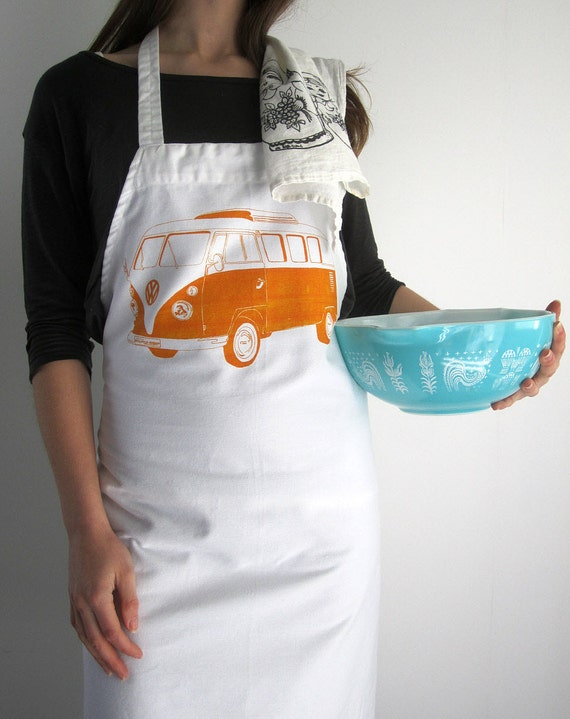 Screen Printed Apron - Natural Cotton Twill - VW Bus Illustration - Eco Friendly and Hand Printed Kitchen Apron