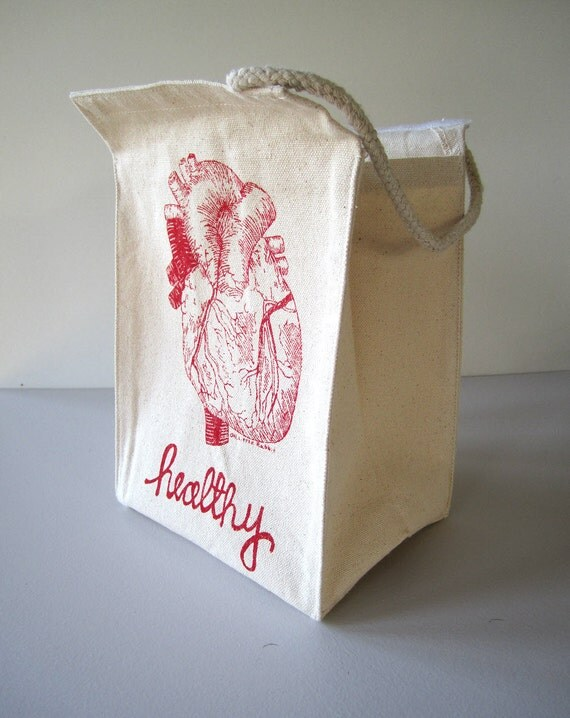 Screen Printed Recycled Cotton Lunch Bag - Reusable and Washable - Eco Friendly - Heart Healthy