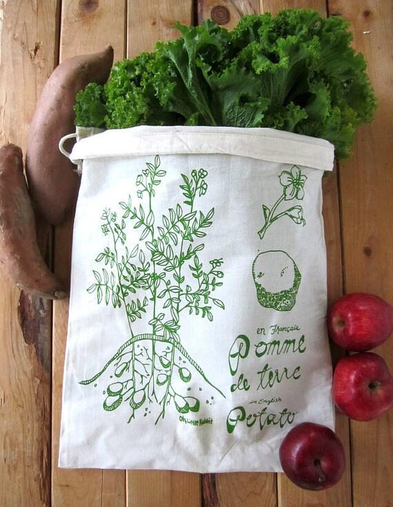 Set of 2 - Screen Printed Natural Cotton Reusable Produce Bags - Eco Friendly - Botanical Potato Illustration