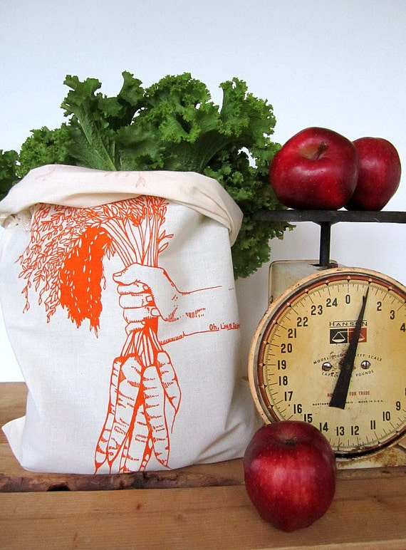 Set of 2 - Screen Printed Natural Cotton Reusable Produce Bags - Eco Friendly - Carrots