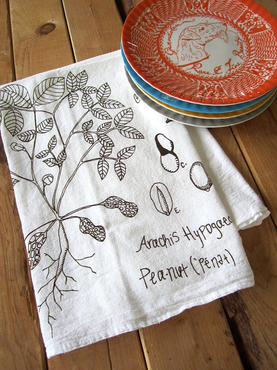 Screen Printed Organic Cotton Flour Sack Towel -  Botanical Style Peanut Plant Illustration - Eco Friendly Tea Towel for Every Day