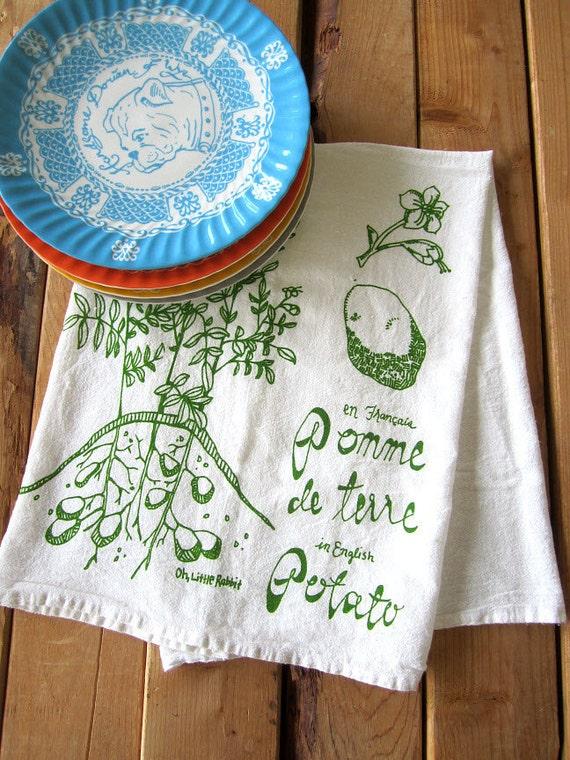 Screen Printed Organic Cotton Flour Sack Towel -  Botanical Style Potato Plant Illustration - Eco Friendly Tea Towel for Every Day