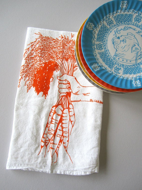 Screen Printed Organic Cotton Flour Sack Towel - Carrots Illustration- Eco Friendly Tea Towel for Every Day