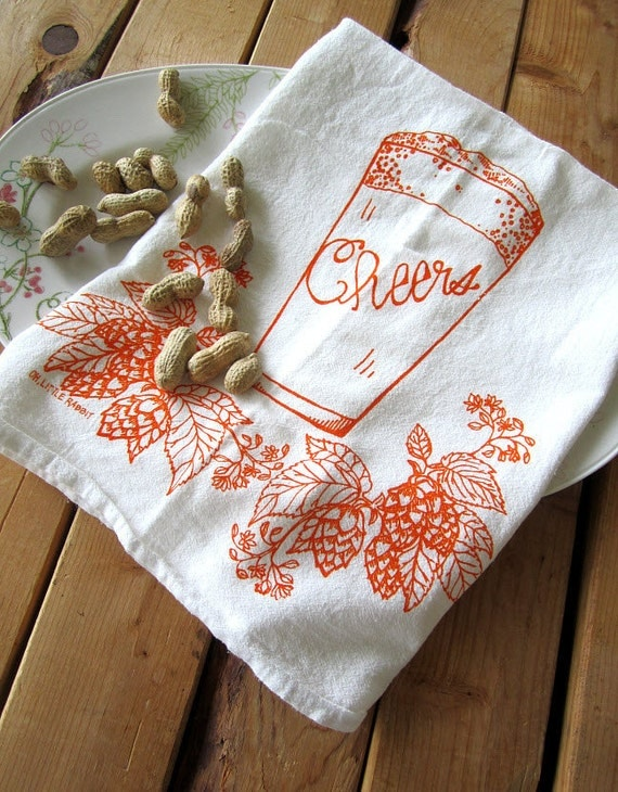 Screen Printed Organic Cotton Flour Sack Tea Towel - Craft Brew - Soft and Absorbent Kitchen Towel for Every Day - Eco Friendly and Awesome