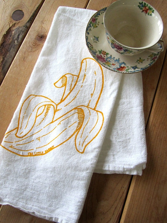 Tea Towel - Screen Printed Organic Cotton Flour Sack Towel - Soft and Absorbent Dish Towel - Banana Illustration
