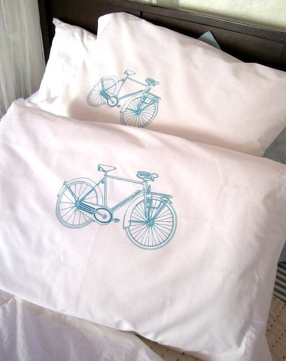 Screen Printed Pillow Cases - Set of 2 Standard Sized Bicycle Pillow Covers - Eco Friendly Bedding
