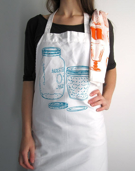 Screen Printed Full Apron - Natural Cotton Twill - Vintage Mason Jar Illustration - Eco Friendly - Super Awesome Kitchen Apron