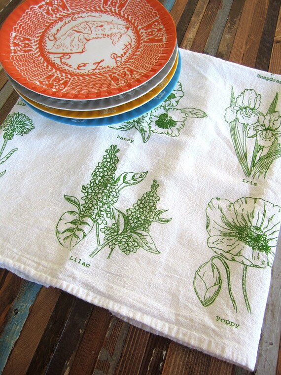 Screen Printed Organic Cotton Floral Kitchen Flour Sack Tea Towel - Eco Friendly and Awesome dish towel
