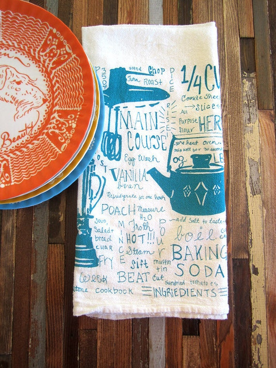 Screen Printed Organic Cotton Kitchen Gadget Flour Sack Tea Towel - Eco Friendly and Awesome Dish Towel