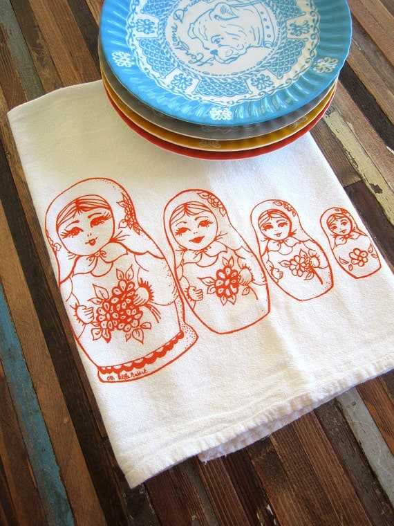 Screen Printed Organic Cotton Flour Sack Tea Towel - Eco Friendly Hand Towel - Nesting Dolls Illustration