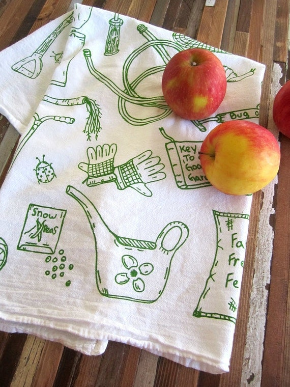 Screen Printed Organic Cotton Kitchen Flour Sack Tea Towel - Eco Friendly and Awesome dish towel - Green Thumb Gardening Tools Illustration