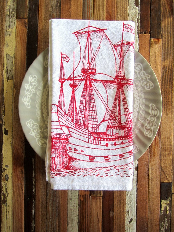 Eco Friendly Dinner Napkins - Screen Printed Organic Cotton Nautical Ship Cloth Napkins - Washable and Reusable - Ahoy Matey