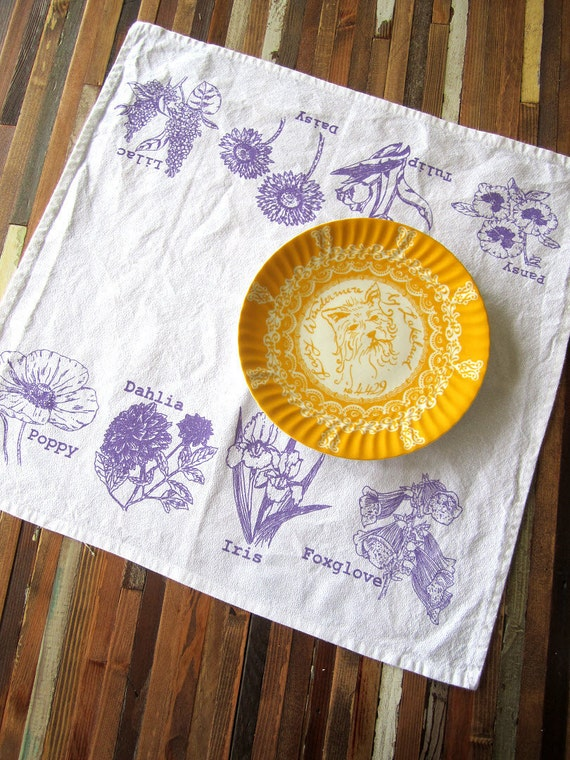 Eco Friendly Floral Dinner Napkins - Screen Printed Organic Cotton Cloth Napkins - Reusable and Washable - Spring Flowers Illustration