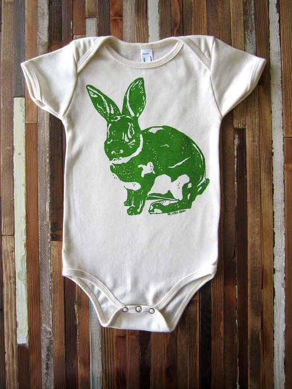 Organic Cotton Onesie - Hand Screen Printed American Apparel Baby Onesie - Bunny Rabbit - Eco Friendly and Awesome (You pick size)