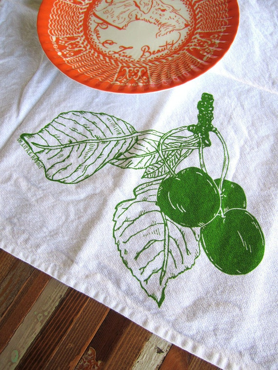 Screen Printed Organic Cotton Cloth Napkins - Eco Friendly Dinner Napkins - Cherry Illustration - Reusable - Summer