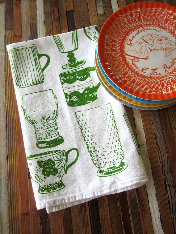 Tea Towel - Screen Printed Organic Cotton Kitchen Flour Sack Towel - Eco Friendly and Awesome dish towel - Vintage Cups