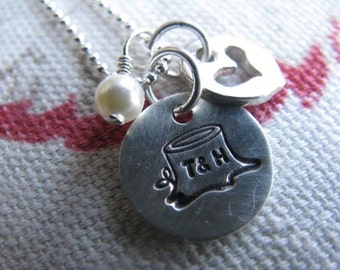 Carved with Love Sterling Silver Personalized Charm Necklace