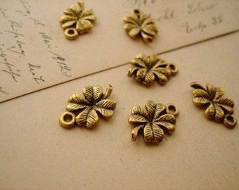 SALE 10 Pcs  Gold Clover Charms